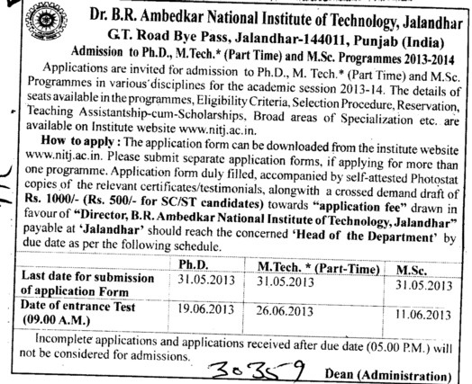 PhD and MTech (Dr BR Ambedkar National Institute of Technology (NIT))