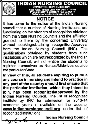 Aprroval of INC mandatory (Indian Nursing Council (INC))