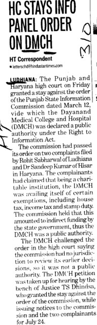 HC stays info panel order on DMCH (Dayanand Medical College and Hospital DMC)