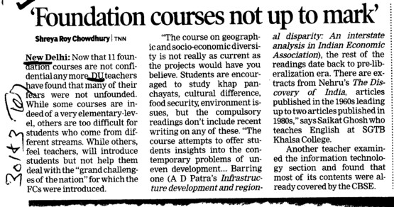 Foundation courses not up to mark (Delhi University)