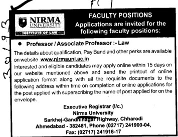 Professor and Associate Professor (Nirma University)