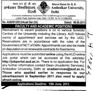 Faculty positions (Bharat Ratna Dr BR Ambedkar University)