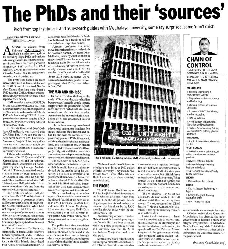 PhD and their sources (Chander Mohan Jha (CMJ) University)