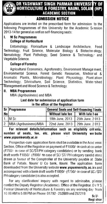 MSc Programme (Dr Yashwant Singh Parmar University of Horticulture and Forestry)