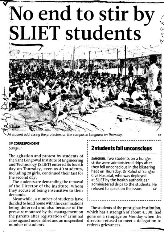 No end to stir by SLIET Students (Sant Longowal Institute of Engineering and Technology SLIET)