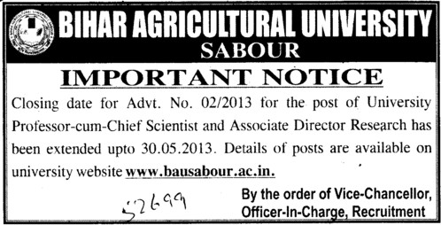 Notice for post of Professor cum chief Scientist (Bihar Agricultural University)