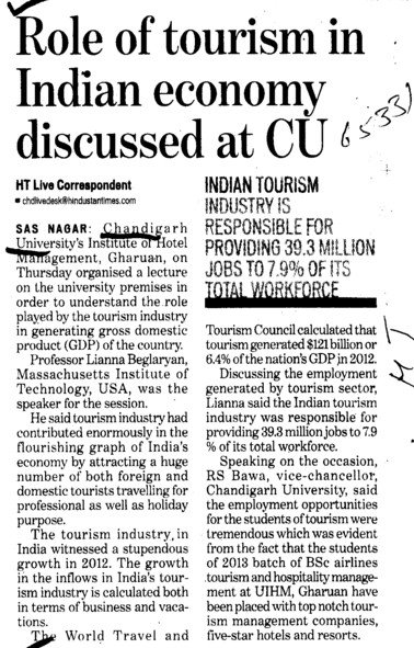 Role of tourism in Indian economy discussed at CU (Chandigarh University)