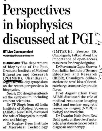 Perspectives in biophysics discusssed at PGI (Post-Graduate Institute of Medical Education and Research (PGIMER))