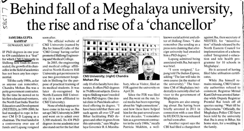 Rise and rise of chancellor (Chander Mohan Jha (CMJ) University)