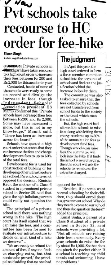 Pvt schools take recourse to HC order for fee hike (Independent Schools Association)