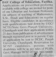 Asstt Professor and Librarian (DAV College of Education)