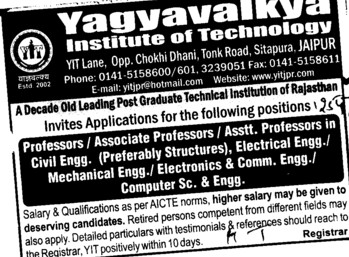 Asstt and Associate Professor (Yagyavalkya Institute of Technology (YIT) Sitapura)