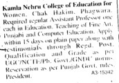 Asstt Professor on regular basis (Kamla Nehru College of Education For Women)