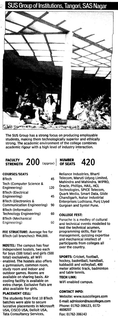 BTech in CS and ECE (SUS Group of Institutions)