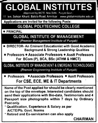 Director and Principal (Global Institutes Group)