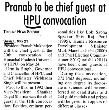 Pranab to be chief guest at HPU Convocation (Himachal Pradesh University)