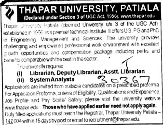 Librarian, Deputy and Asstt Librarian (Thapar Institute of Engineering and Technology University)