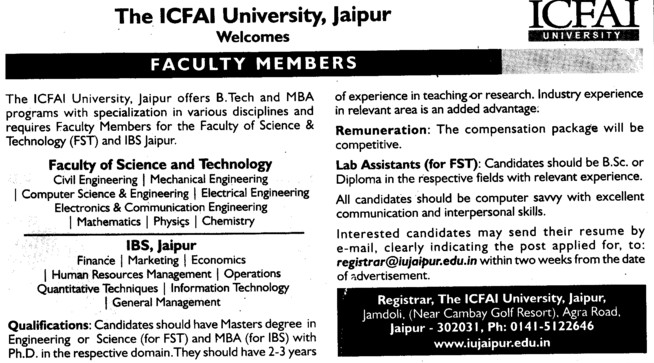 Lab Asstt (ICFAI University)