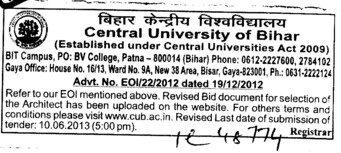 Selection of Architect (Central University of Bihar)