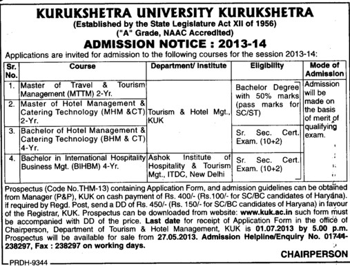 Master of Travel and Tourism Management (Kurukshetra University)
