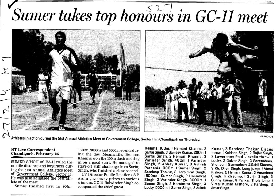 Sumer takes top honours in GC 11 meet (Post Graduate Government College (Sector 11))
