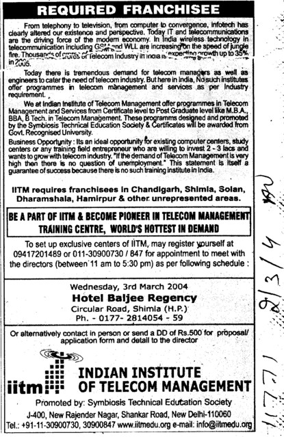 Franchisee (Indian Institute Of Telecom Management (IITM))