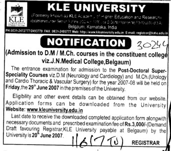 DM and M Ch courses (KLE University)