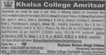 Asstt Professor on Contract basis (Khalsa College)