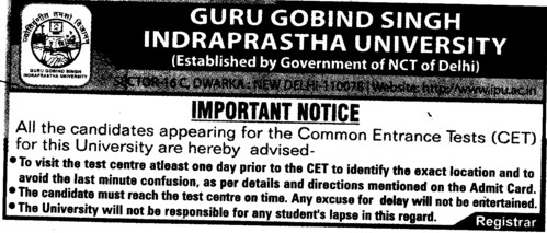 Important Notice for CET Students (Guru Gobind Singh Indraprastha University GGSIP)