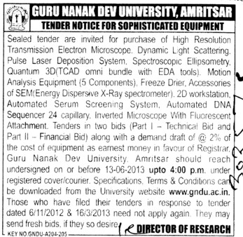 Sophisticated Equipment (Guru Nanak Dev University (GNDU))