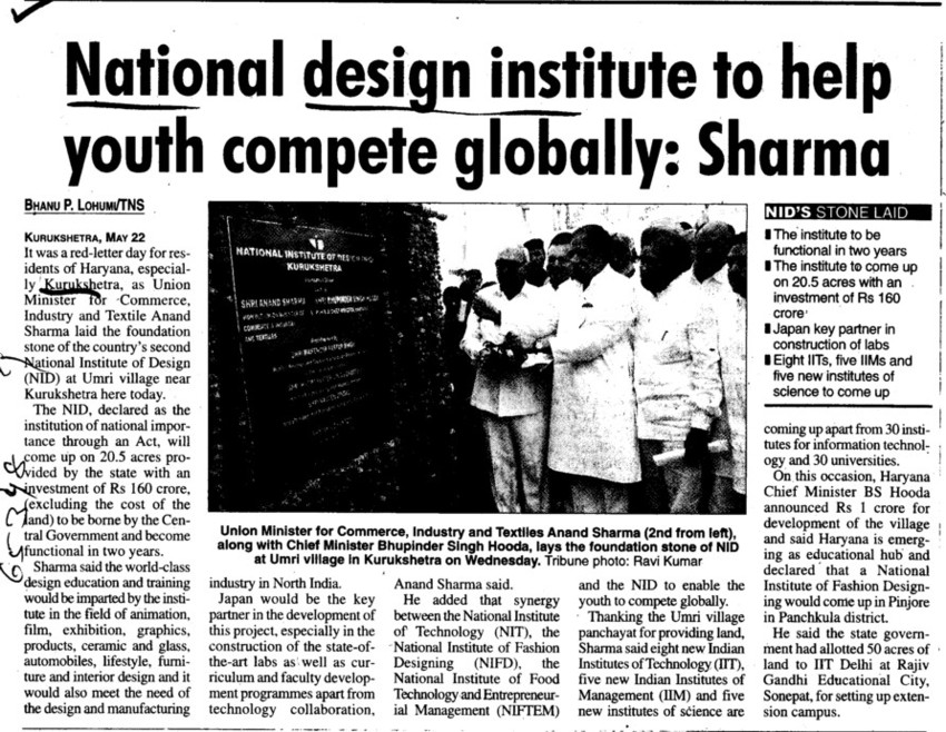 Institute help for youth complete globally, Sharma (National Institute of Design)