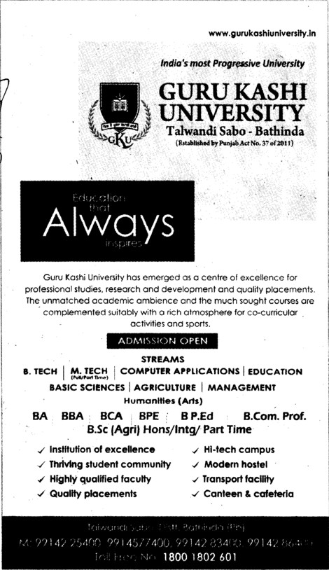 BA, BBA and BPEd (Guru Kashi University)