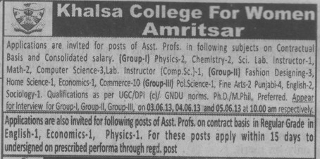 Lab Instructor (Khalsa College for Women)