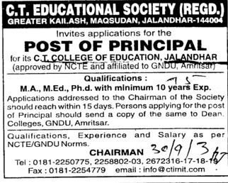 Principal (CT College of Education)