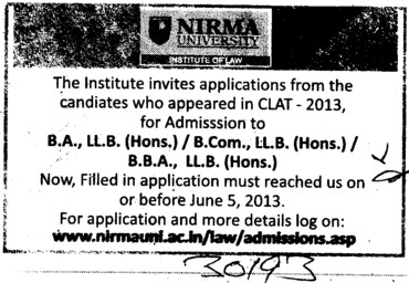 BA LLB and BBA (Nirma University)