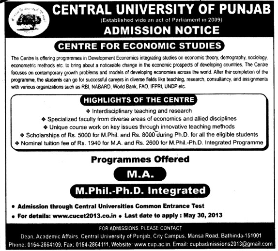 MA and PhD Programme (Central University of Punjab)