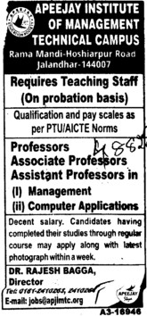 Asstt and Associate Professor (Apeejay Institute of Management)