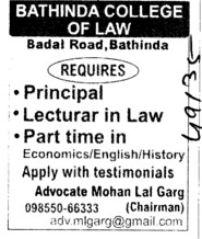 Principal and Lecturers in Law (Bathinda College of Law)