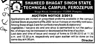 Auction for shops (Shaheed Bhagat Singh State (SBBS) Technical Campus)