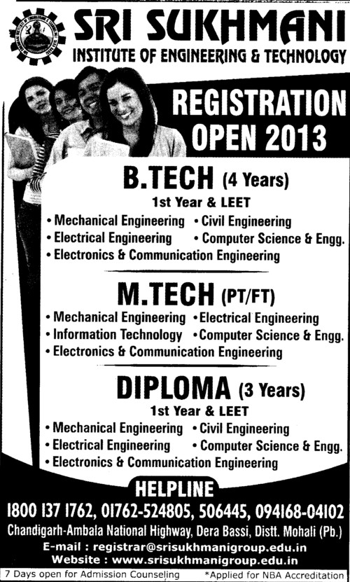 BTech and Diploma in CS and ECE (Sri Sukhmani Institute of Engineering and Technology)