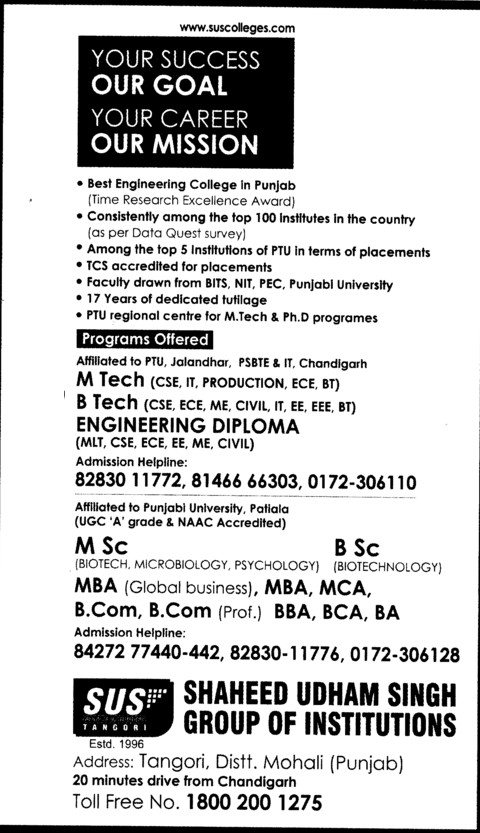 BTech and Engg Diploma (SUS Group of Institutions)