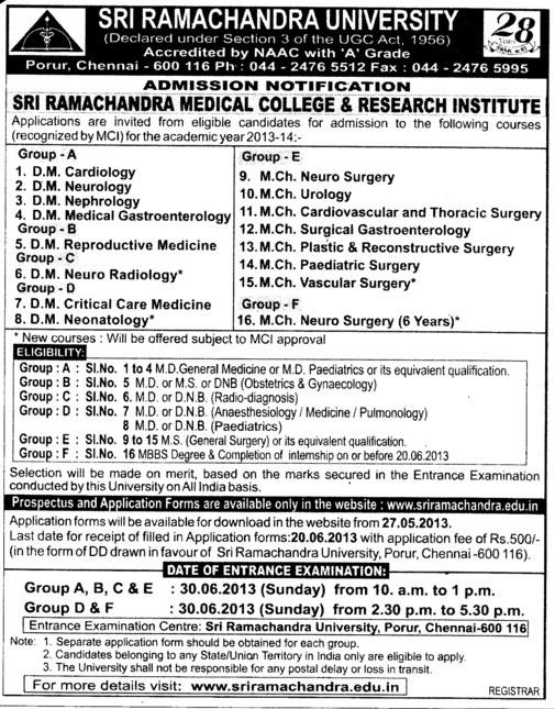 DM in Cardiology and Urology (SRM University)