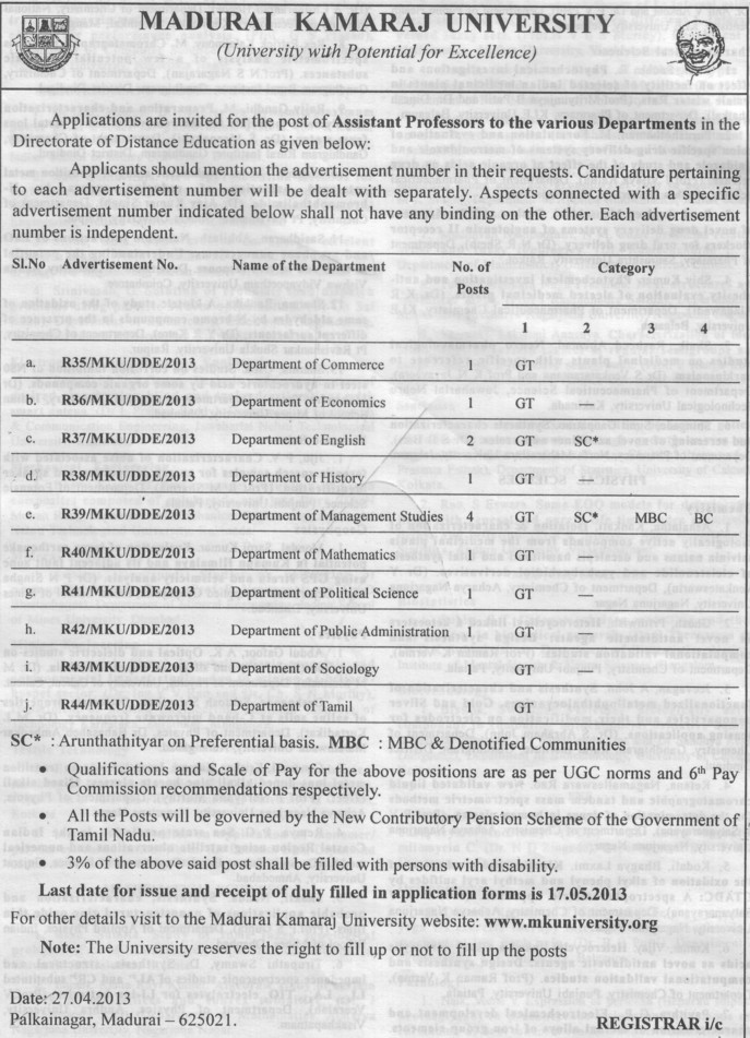 Asstt Professor for various departments (Madurai Kamaraj University)