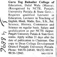 Lecturer for Hindi and Commerce (Guru Teg Bahadur College of Education)