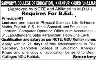 Principal and Lecturers (Sarvodaya College of Eduaction Khanpur Khurd)