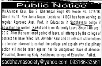 Ms Arvinder Kaur absent (Sadbhavna College of Education for Women)