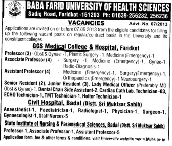 Asstt Professor and Senior Resident (Guru Gobind Singh Medical College)