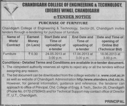 Purchase of Furniture (Chandigarh College of Engineering and Technology (CCET))