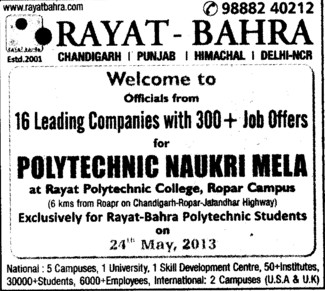 16 leading companies with 300 plus job offers (Rayat and Bahra Group)