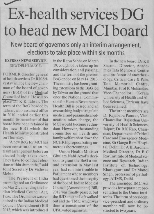 Ex health services DG to head new MCI board (Medical Council of India (MCI))